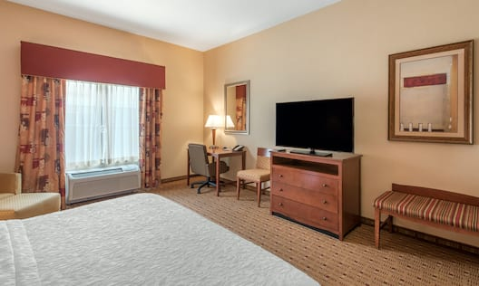 King Bed, Work Desk, TV and Bench