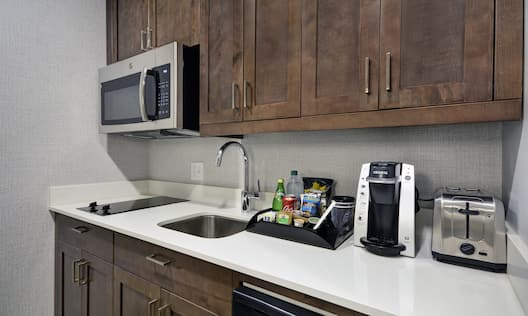 Suite Kitchen with Microwave, Stove Top, Coffee Maker and Toaster