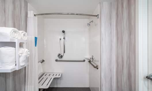 Accessible Bathroom with Seat in Roll in Shower