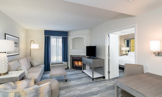 Suite Living Area with Fireplace