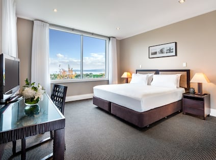 King bed apartment with nightstands, lamps, work desk, TV, and window with outdoor view