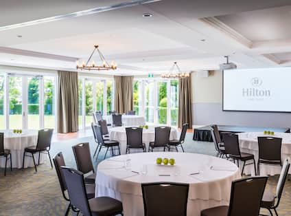 Ballroom Dining Area with Projector Screen