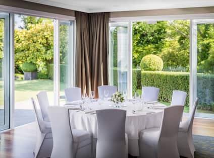 Ballroom Wedding Setup with Outdoor Area