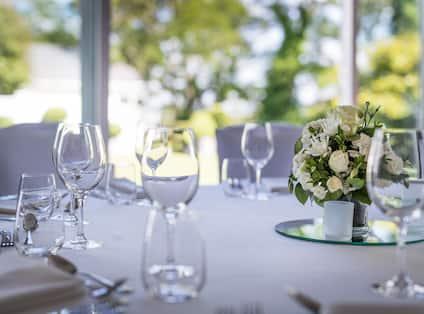 Close-Up of Ballroom Wedding Table Setup