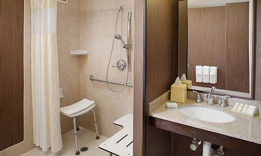 Accessible bathroom with vanity and rolled-in shower and shower seat.