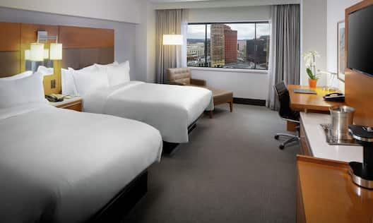 Accessible Guestroom with Two Beds, Lounge Area, Outside View, Work Desk, and Room Technology