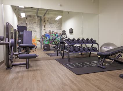 Fitness Center With Weight Machine, Mirrored Wall, Free Weights, Exercise Ball, Weight Bench, and Two TVs in Front of Cardio Equipment,
