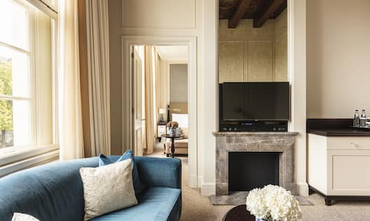 Backer Suite Living Area with Fireplace