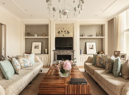 Brentano Suite Living Area with Fireplace