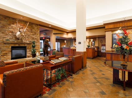 Lobby seating area with fireplace.