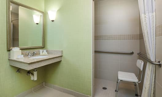 Vanity and roll-in shower with chair