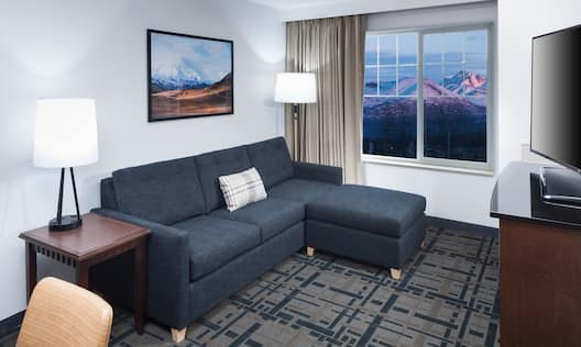 Sofa bed and mountain view