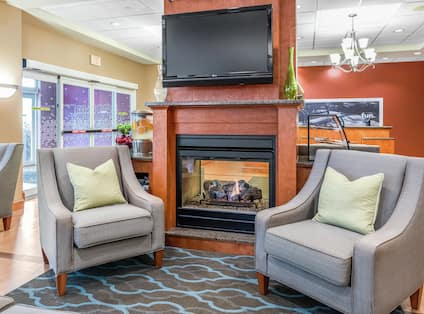 Fireplace Seating in Hotel Lobby