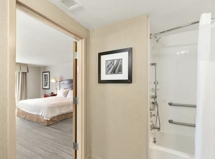 Accessible Single King Guestroom with View of Bathtub