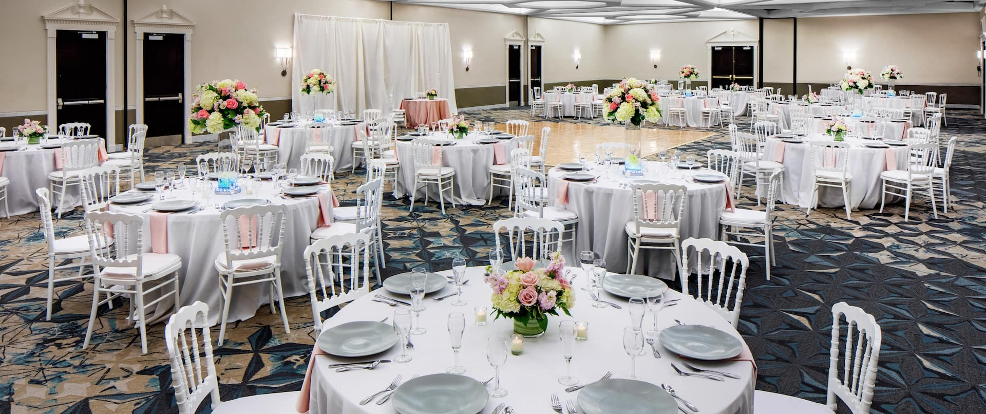 Ballroom with Banquet Tables and Dance Floor