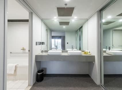 Dual Vanity Area in Suite Bathroom