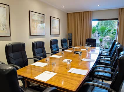 Seating for 10 Around Boardroom Table, Wall Art and Large Window With View