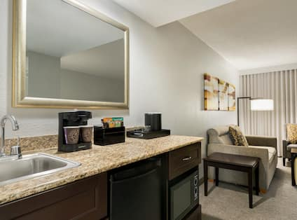 Suite Living Area and Wet Bar