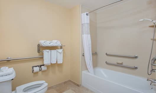 Accessible Guest Bathroom with Toilet and Tub