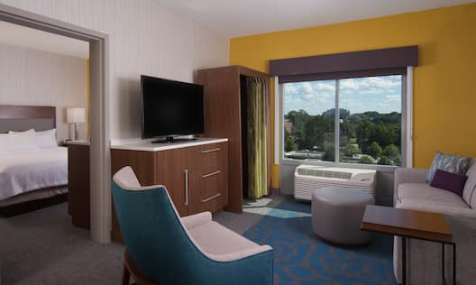 King Suite Living Area with Flat Screen TV