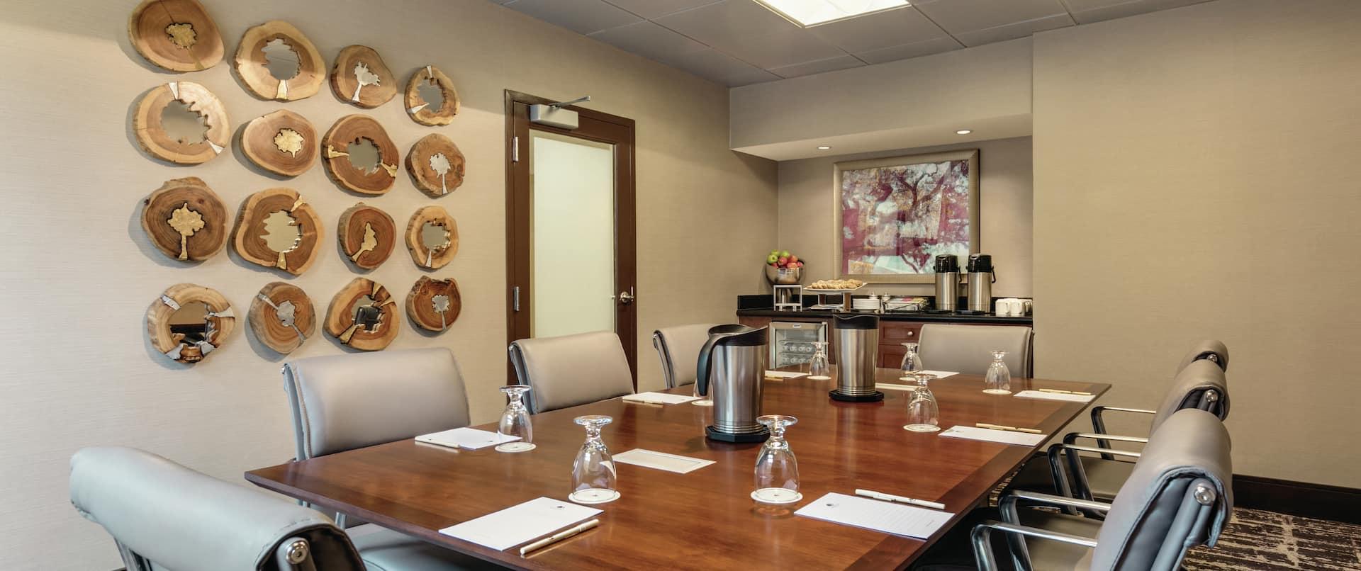 Boardroom With Beverage & Food Station