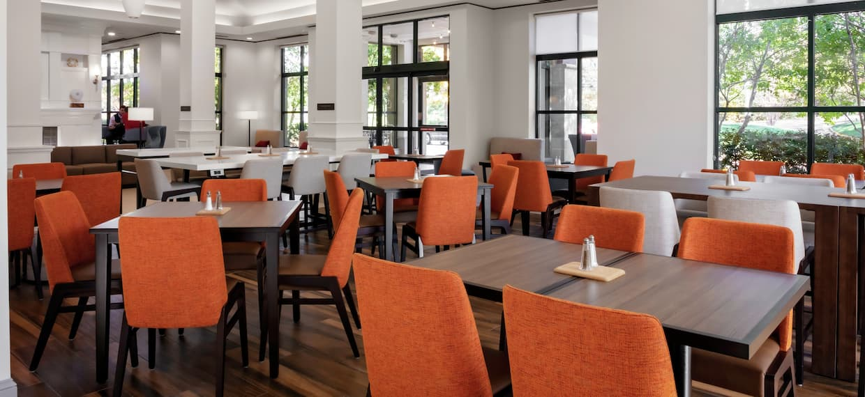 Restaurant Dining Area with Large Windows