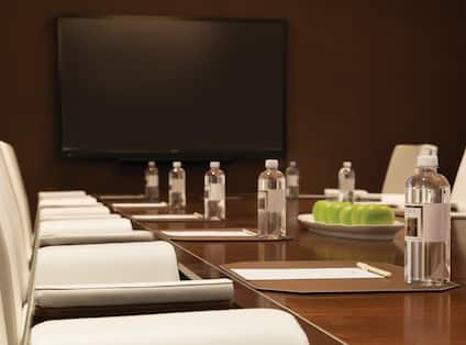 Close up View of Boardroom Table with Water