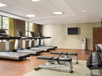 Fitness Center view with treadmills, free weights area, and HDTV
