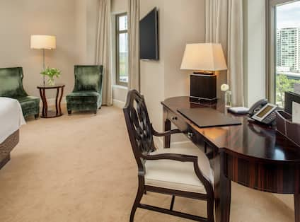 Guestroom with Two Queen Beds, Lounge Area, Work Desk, Room Technology, and Outside View