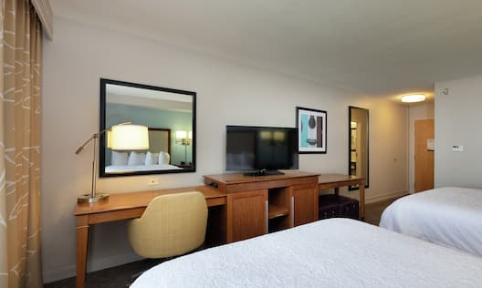 Two Double Beds, Work Desk, and Television