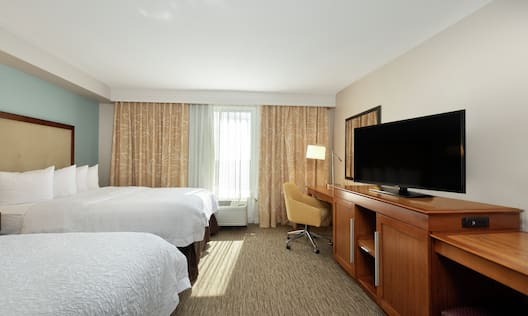 Accessible Guest Room with Double Beds, Work Desk, and Television