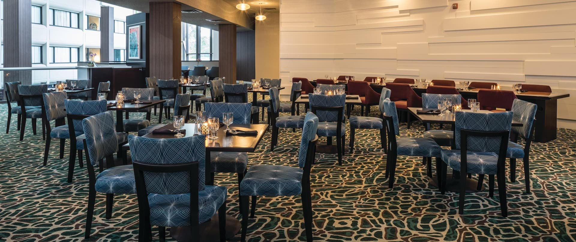 Chairs and tables set for dinner
