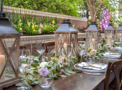 Table setup on terrace for wedding reception