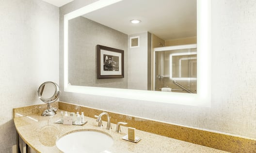 Spacious modern bathrrom with large vanity and mirror