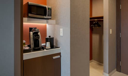 Microwave, Keurig, Mini-Fridge, with View of Closet and Entry
