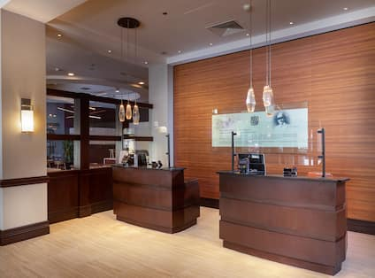 Front desk area with lights