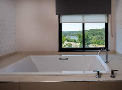 Bathtub in room with view