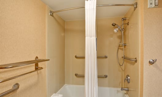 Accessible Shower and Tub with Handrails