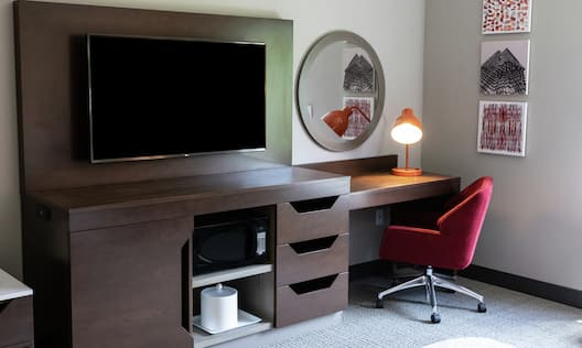 Television and Work Desk Area