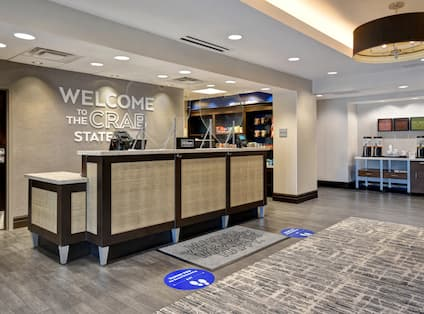 lobby front desk with coffee station