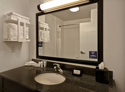 guest bathroom with vanity