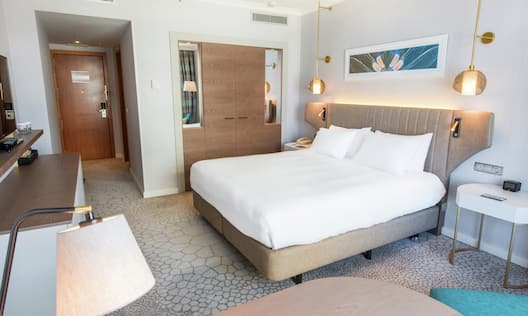 King Bed with Lamps Hanging from Ceiling and view of Door