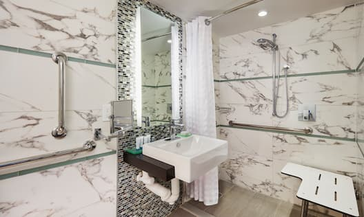 Mobility and hearing accessible standard bathroom room with a vanity, handrails, and a shower with seating.