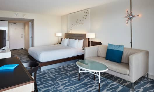 Reverse View of Bedroom  of a  1 King 2 Room Suite with a View of Lake Boca