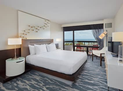 View of Bedroom with an Ocean view inside a 1 King 2 Room Suite King