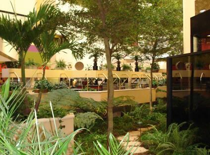 Hotel Atrium Stone Pathway