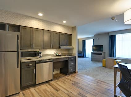 Suite Kitchen Area and Partial View of Living Area