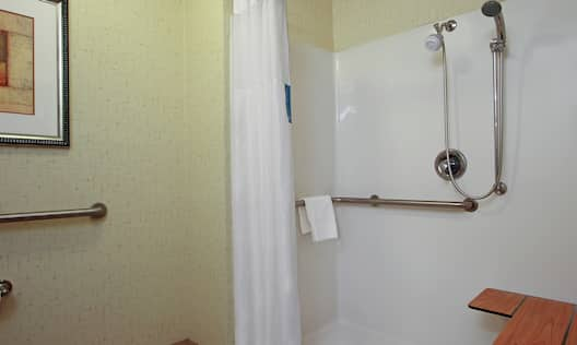 Accessible Guestroom Bathroom with Roll-In Shower with Seat