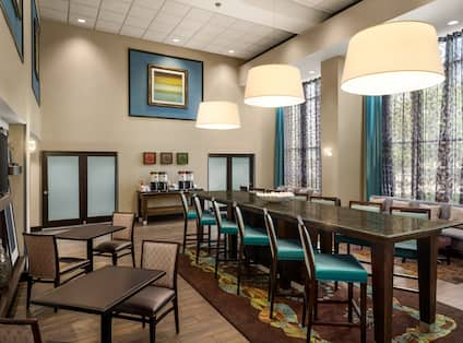 Lobby Seating Area with Tall Table and Tall Chairs