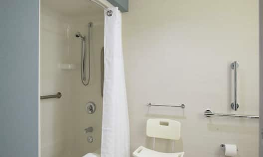 Accessible Bathtub With Grab Bars, Seat, and Handheld Showerhead